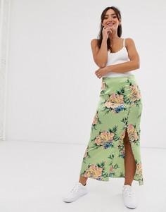 Атласная юбка с пуговицами и цветочным принтом ASOS DESIGN city-Мульти