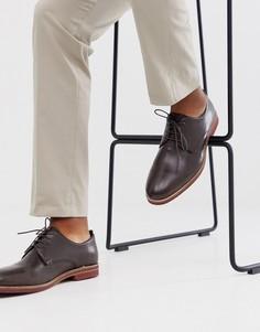 Коричневые кожаные туфли на шнуровке с контрастной подошвой ASOS DESIGN-Коричневый