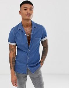 Выбеленная эластичная приталенная джинсовая рубашка с отложным воротником ASOS DESIGN-Синий