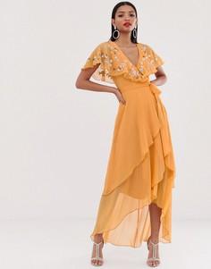 Платье макси с асимметричным подолом и кейпом ASOS DESIGN-Оранжевый