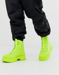 Ботинки из искусственной кожи неоново-зеленого цвета на массивной подошве и со шнуровкой ASOS DESIGN-Зеленый