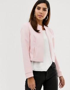 Короткая дутая куртка на молнии Naf Naf-Розовый