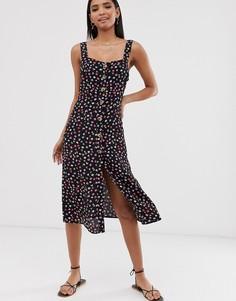 Черное летнее платье на пуговицах с цветочным принтом River Island-Черный