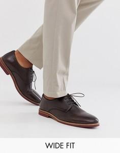 Коричневые кожаные туфли на шнуровке для широкой стопы с контрастной подошвой ASOS DESIGN-Коричневый