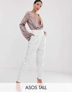 Белые зауженные брюки в стиле 80-х ASOS DESIGN Tall-Белый