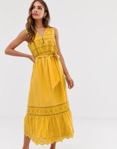Желтое платье миди с вышивкой ришелье и завязкой Esprit-Желтый