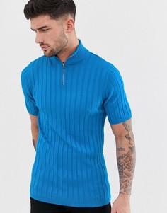 Трикотажная футболка неоново-синего цвета в рубчик с короткой молнией ASOS DESIGN-Синий