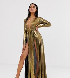 Пляжное трикотажное платье макси с глубоким вырезом спереди, плиссировкой, разрезами и эффектом металлик ASOS DESIGN-Коричневый