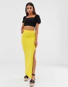 Желтая юбка макси с высоким разрезом Missguided-Желтый
