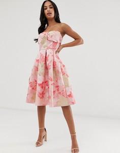 Романтичное приталенное платье с цветочным принтом Naf Naf-Мульти