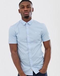 Синяя приталенная поплиновая рубашка с короткими рукавами Jack Wills-Синий