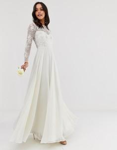 Свадебное платье с вышивкой и отделкой бусинами ASOS EDITION-Белый