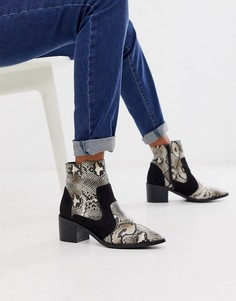 Ботинки в стиле вестерн с отделкой под змеиную кожу на среднем каблуке London Rebel-Бежевый