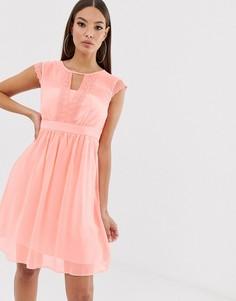 Сетчатое пастельное платье с кружевом Naf Naf romantic-Розовый
