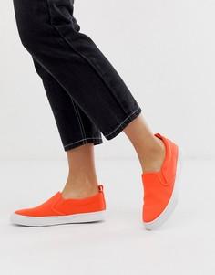 Неоново-оранжевые кеды-слипоны ASOS DESIGN Demi-Оранжевый