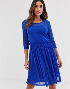 Приталенное сетчатое платье миди Ichi-Синий