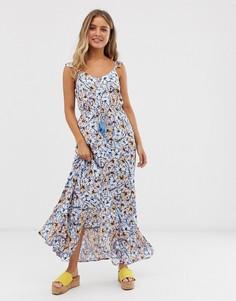 Платье макси с цветочным принтом и оборками New Look-Синий