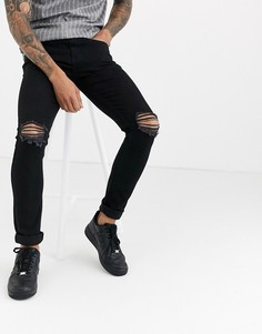 Черные джинсы скинни с рваной отделкой Another Infleunce NOA-Черный