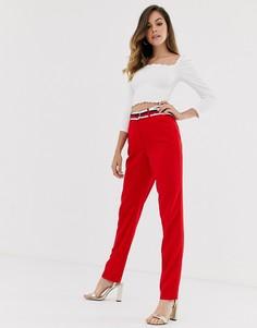 Красные строгие брюки с поясом Morgan-Красный