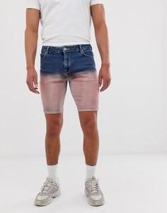 Сине-розовые джинсовые шорты с эффектом омбре ASOS DESIGN-Синий