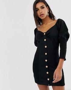Платье мини на пуговицах со сборками ASOS DESIGN-Черный