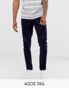 Темно-синие вельветовые брюки узкого кроя ASOS DESIGN Tall-Темно-синий
