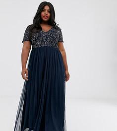 Темно-синее платье макси из тюля с V-образным вырезом и отделкой пайетками Maya Plus-Темно-синий