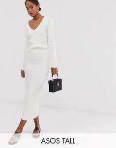 Трикотажная юбка в рубчик ASOS DESIGN Tall-Кремовый