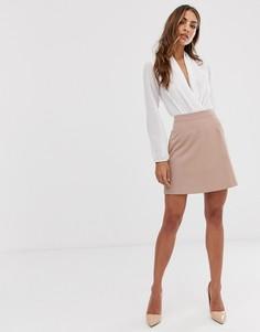 Бежевая строгая юбка-трапеция ASOS DESIGN-Бежевый
