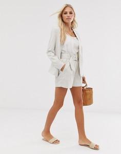 Льняные шорты в полоску с присборенной талией Vero Moda-Кремовый