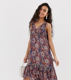 Фестивальное платье миди с цветочным принтом и кисточками Y.A.S Petite-Мульти