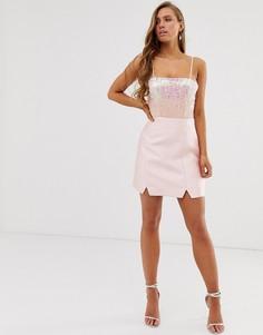 Строгая розовая атласная юбка-трапеция Collective The Label-Розовый