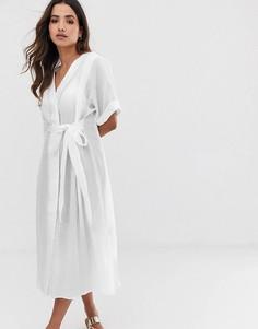 Фактурное хлопковое платье-рубашка с завязкой на талии Y.A.S-Белый