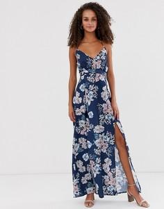 Платье макси с запахом спереди и цветочным принтом Parisian-Темно-синий