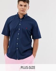 Темно-синяя легкая саржевая рубашка с короткими рукавами и логотипом Polo Ralph Lauren - Big & Tall-Темно-синий