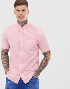 Розовая оксфордская рубашка с короткими рукавами Fred Perry-Розовый