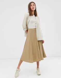 Бежевая юбка-трапеция миди Weekday-Зеленый