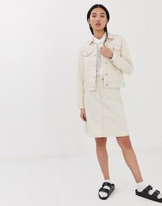 Светло-бежевая эластичная джинсовая юбка-трапеция Selected Femme-Белый