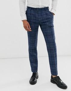 Синие узкие строгие брюки из 100% шерстяного твида Харрис в клетку ASOS DESIGN-Синий