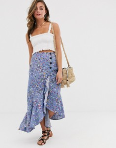 Юбка макси с оборкой и мелким цветочным принтом в винтажном стиле ASOS DESIGN-Мульти