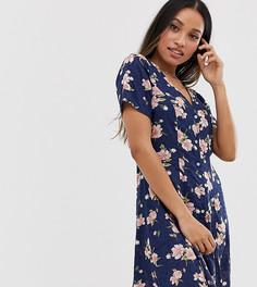 Чайное платье мини с цветочным принтом Y.A.S Petite-Мульти