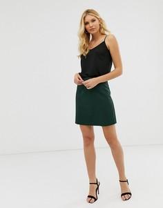Зеленая строгая юбка-трапеция мини ASOS DESIGN-Зеленый