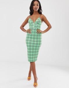 Платье миди в клетку с ремешками на спине ASOS DESIGN-Зеленый