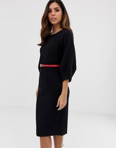 Платье-футляр с плиссированными рукавами Closet-Черный