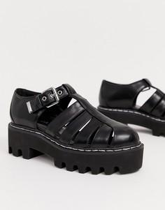 Черные туфли на массивной плоской платформе Lamoda-Черный