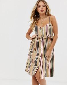 Пляжное платье на пуговицах с вышивкой America & beyond-Мульти