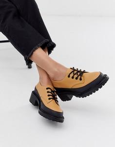 Бежевые туфли на плоской подошве со шнуровкой ASOS DESIGN Mix Up-Бежевый