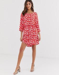 Платье с рукавами 3/4 и цветочным принтом Vero Moda-Мульти