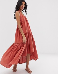 Платье миди с ярусной пышной юбкой Lost Ink-Красный