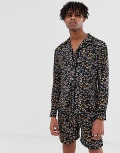 Черная рубашка с принтом и длинными рукавами от комплекта Sacred Hawk-Черный